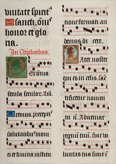 [MANUSCRIPT LEAF -- ANTIPHONARY]. One leaf on vellum, in Latin. Italy, ca. 1480-1525.