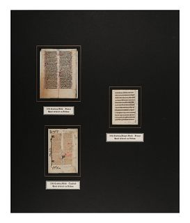 [MANUSCRIPT LEAVES -- BIBLES]. A group of 3 manuscript leaves on vellum, matted together, comprising: