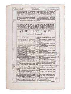 [BIBLE LEAVES - ENGLISH - 16TH AND 17TH CENTURIES]. A group of 8 Bible leaves in English, comprising:
