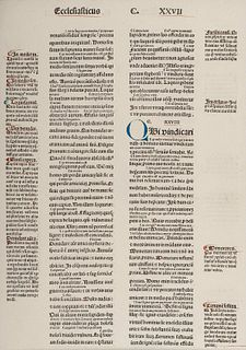 [BIBLE LEAVES - LATIN]. A group of 5 Bible leaves in Latin, comprising: