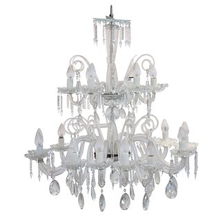 CANDIL FRANCIA, PRINCIPIOS DEL SIGLO XX Estilo MARÍA TERESA Elaborado en cristal, para 18 luces 105 cm