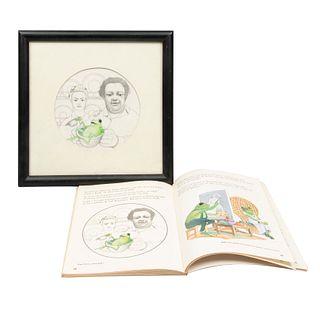 ANÓNIMO. Frida Kahlo y Diego Rivera. Dibujo a lápiz y lápiz de color. Enmarcado. Con libro de referencia. Enmarcado. 33.5 x 34 cm