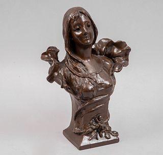 Anónimo. Busto de dama. Siglo XX. Estilo art nouveau. Fundición en antimonio. Acabado bronce patinado.