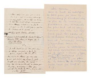 DALI, Salvador (1904-1989) -- DALI, Gala (1934-1982). Two autograph letters signed, comprising: