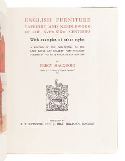 [FURNITURE & DECORATIVE ARTS]. TATLOCK, R. R. and Roger FRY, R. L. HOBSON, and Percy MACQUOID.