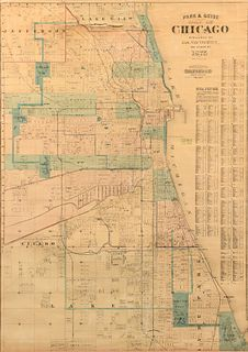 [CHICAGO] --Park & Guide Map of Chicago. Chicago: Jas. Van Vechten, 1873.