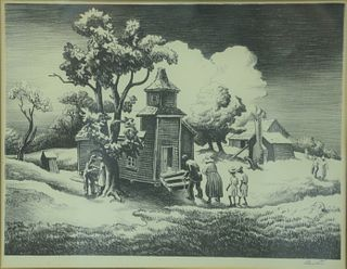 """Thomas Hart Benton (American, 1889-1975), Sunday Morning, 1939, lithograph on paper, pencil signed lower right, sight size: 10 1/4"""" x 13""""."""