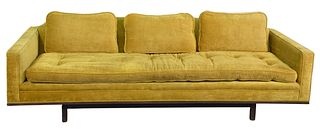 Mid-century Upholstered Sofa, attributed to Edward Wormley for Dunbar, length 90 inches, height 26 inches.
