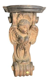 Carved Caryatid Shelf on Scroll, 18th/19th century, height 24 inches.