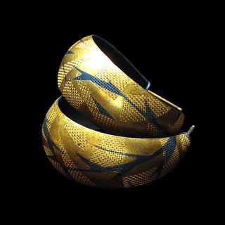 Patterned Gold Overlay Hoops I