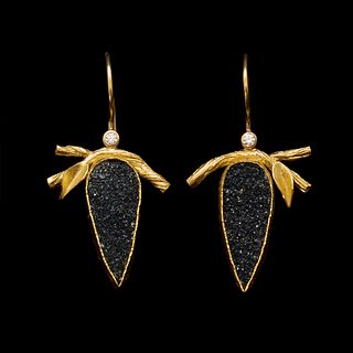 Twig and Leaf Black Agate Druzy Earrings