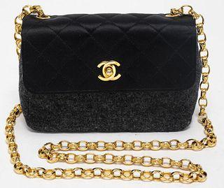 Chanel Black Satin And Grey Felt Handbag