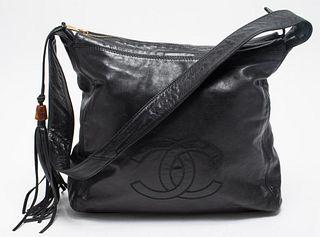 Chanel Black Leather Tote Handbag