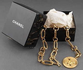 Chanel Gold-Tone Metal Link Belt with Medallion