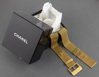 Chanel Gold-Tone Mesh Logo Belt
