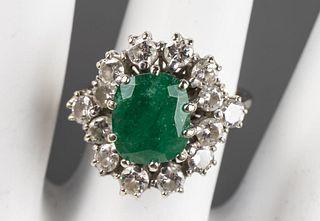 Vintage 14K White Gold, Emerald & Diamond Ring