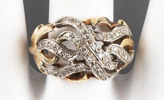Vintage 14K Yellow & White Gold Diamond Swirl Ring