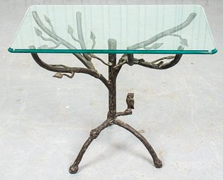 Giacometti Style Bronze & Glass Side Table