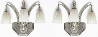 French Art Deco Triple Light Sconces, Pair