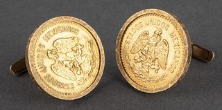 22K Mexican Gold 10 Pesos Coins In 14K Cufflinks