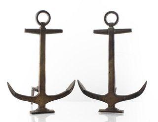 Cast Iron Nautical Anchor Motif Andirons, Pair