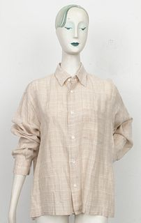 Hermes Tan And White Plaid Linen Shirt