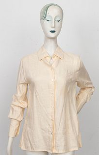 Hermes Beige Linen Button Down Shirt