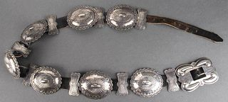Navajo Native American Silver Concho Leather Belt