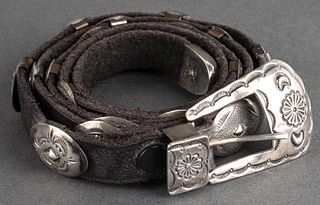 Jerry Werito Navajo Silver Concho Leather Belt