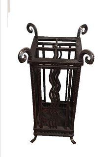 Edgar Brandt Style Wrought Iron Umbrella Stand