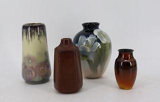 4 Rookwood Signed Art Pottery Vases