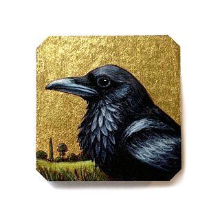 Raven Portrait Pin