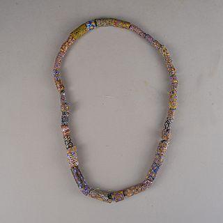 Collar con cuentas de vidrio millefiori marroquí / Moroccan glass beads necklace