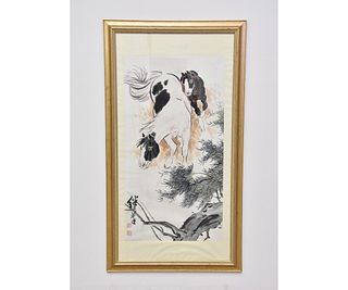 Large Chinese Watercolor of Horses