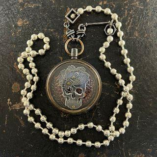 Frida Sugar Skull Honeybee Pocket Watch Necklace