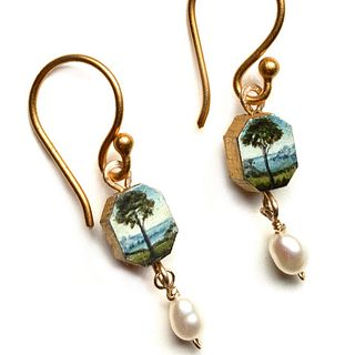 Tiny Trees Painted Earrings