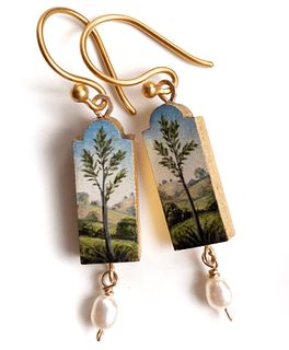 Tree Earrings with Pearl