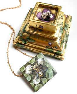 Gilded Box with Bee Pendant