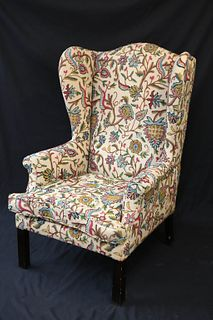 Crewelwork Upholstered Wing Chair