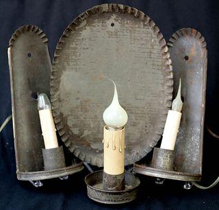 Three Antique Tin Sconces