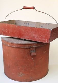 Antique Metal Tin and Carrier