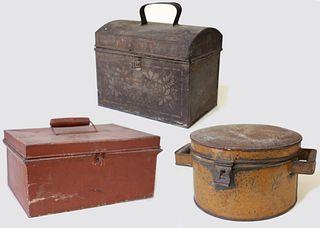 Three Antique Painted Tins