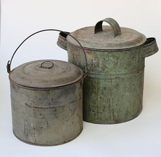 Two Antique Painted Tin Canister