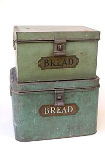 Two Painted Tin Bread Boxes