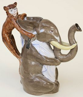 Majolica Monkey and Elephant Pitcher