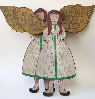 Pair of Folk Art Angels