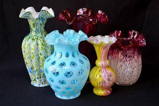 Five Art Glass Vases