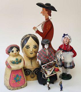 Five Folk Art Figures