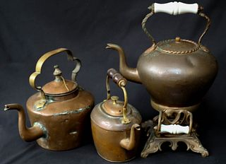 Three Antique Copper Kettles