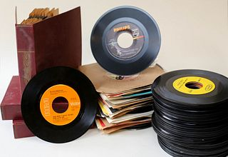 Large Group of Vinyl 45 Records